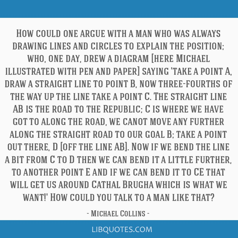 How could one argue with a man who was always drawing lines and circles to explain the position; who, one day, drew a diagram [here Michael...