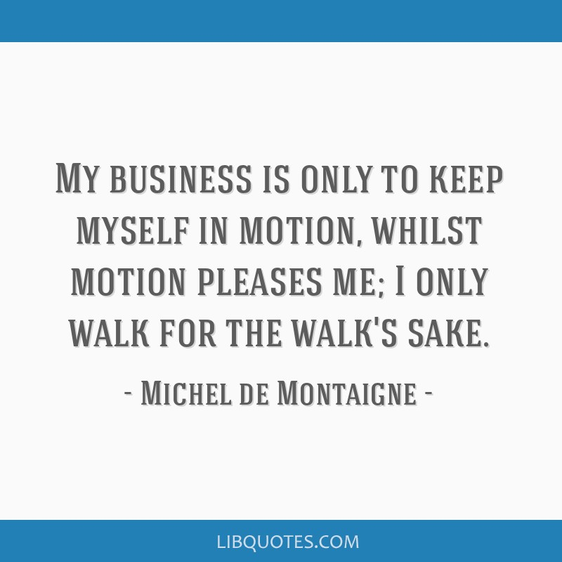 My business is only to keep myself in motion, whilst motion pleases me; I only walk for the walk's sake.