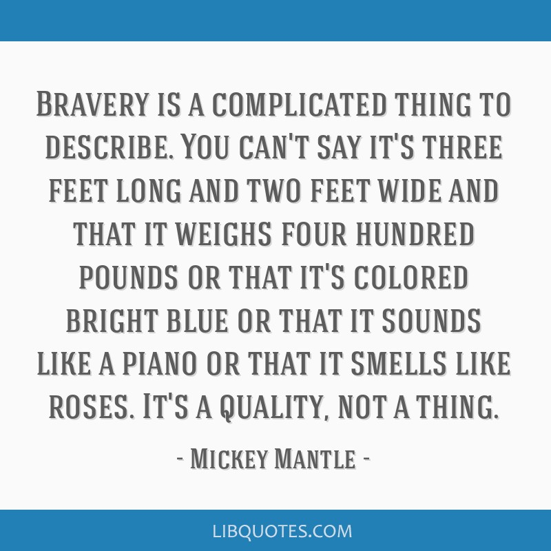 Bravery is a complicated thing to describe. You can't say it's three feet long and two feet wide and that it weighs four hundred pounds or that it's...