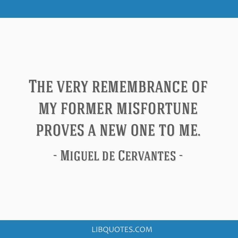 The very remembrance of my former misfortune proves a new one to me.