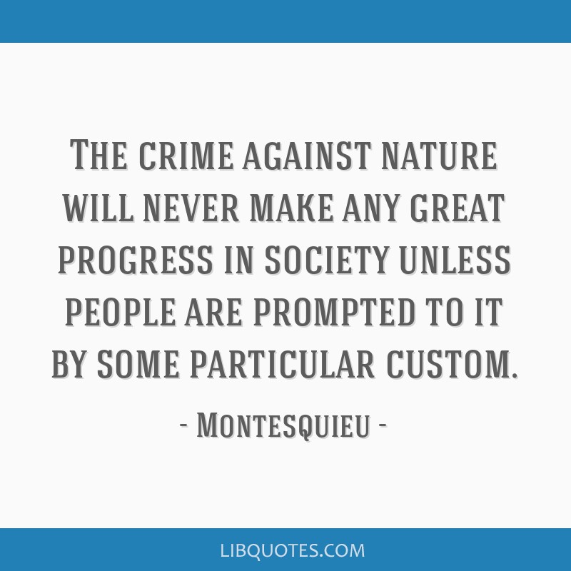 The crime against nature will never make any great progress in society unless people are prompted to it by some particular custom.