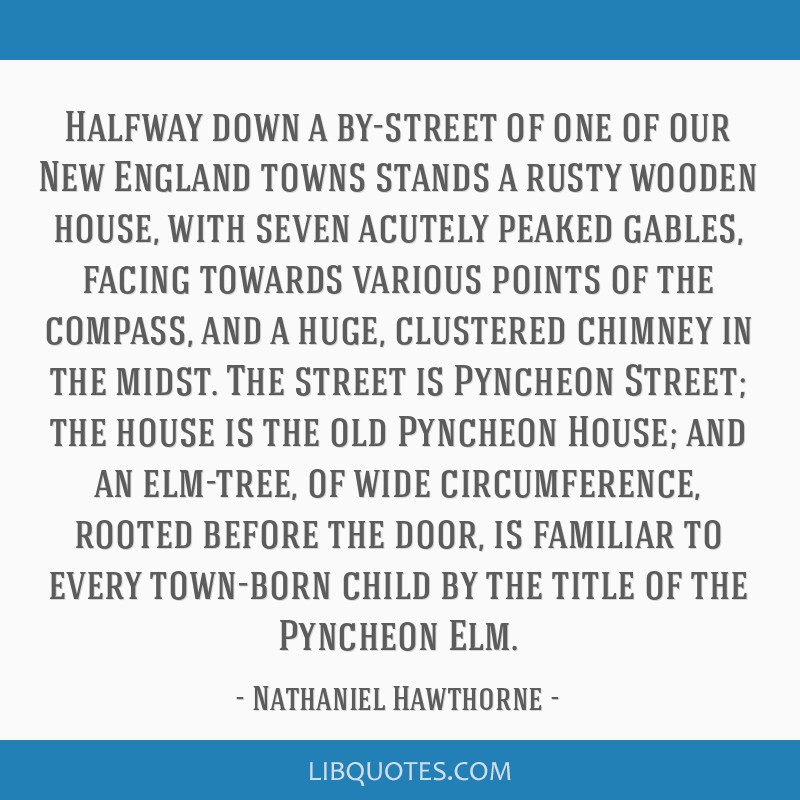 Halfway down a by-street of one of our New England towns stands a rusty wooden house, with seven acutely peaked gables, facing towards various points ...