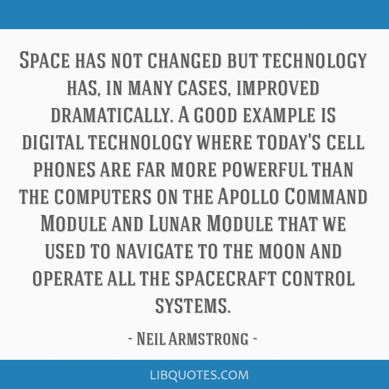 Space has not changed but technology has, in many cases, improved dramatically. A good example is digital technology where today's cell phones are...