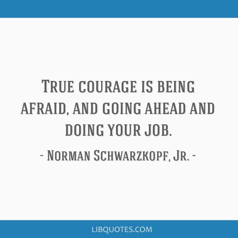 True courage is being afraid, and going ahead and doing your job.