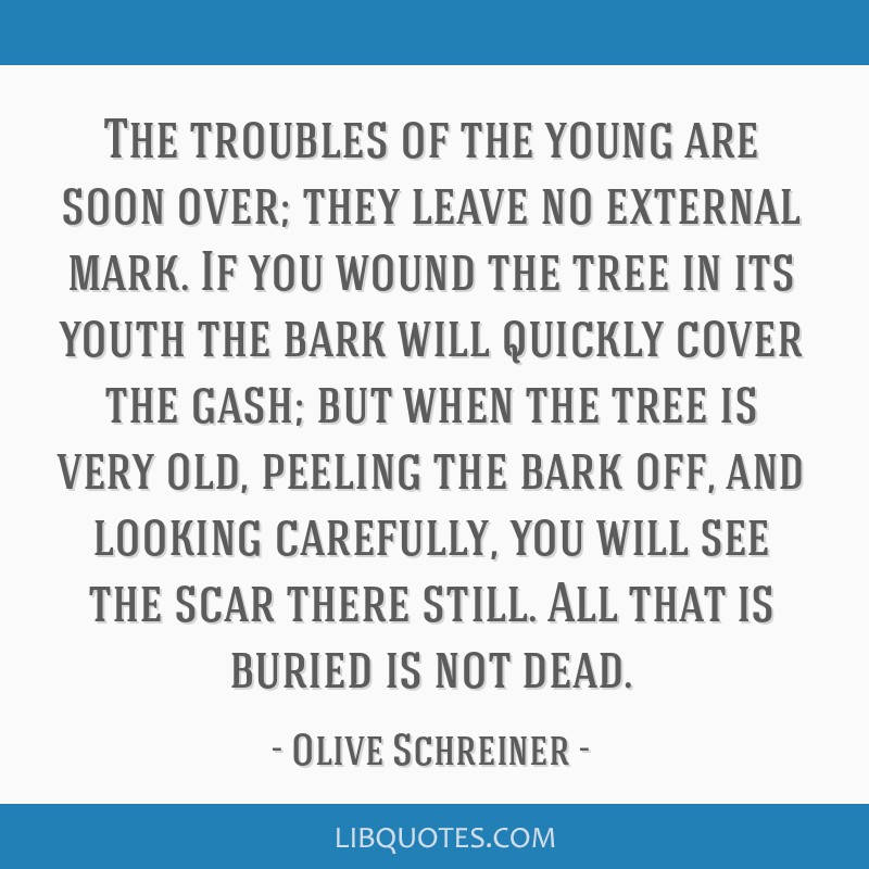 The troubles of the young are soon over; they leave no external mark. If you wound the tree in its youth the bark will quickly cover the gash; but...