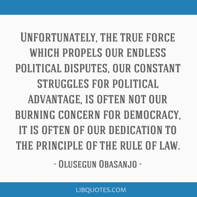 Unfortunately, the true force which propels our endless political disputes, our constant struggles for political advantage, is often not our burning...