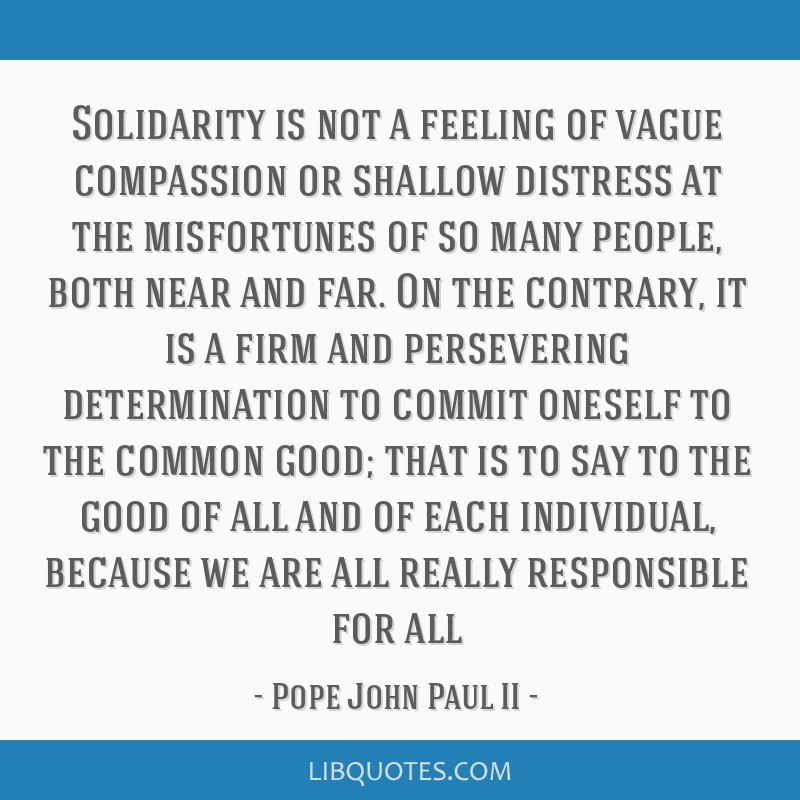 Solidarity is not a feeling of vague compassion or shallow distress at the misfortunes of so many people, both near and far. On the contrary, it is a ...