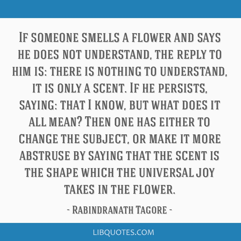 If someone smells a flower and says he does not understand, the reply to him is: there is nothing to understand, it is only a scent. If he persists,...