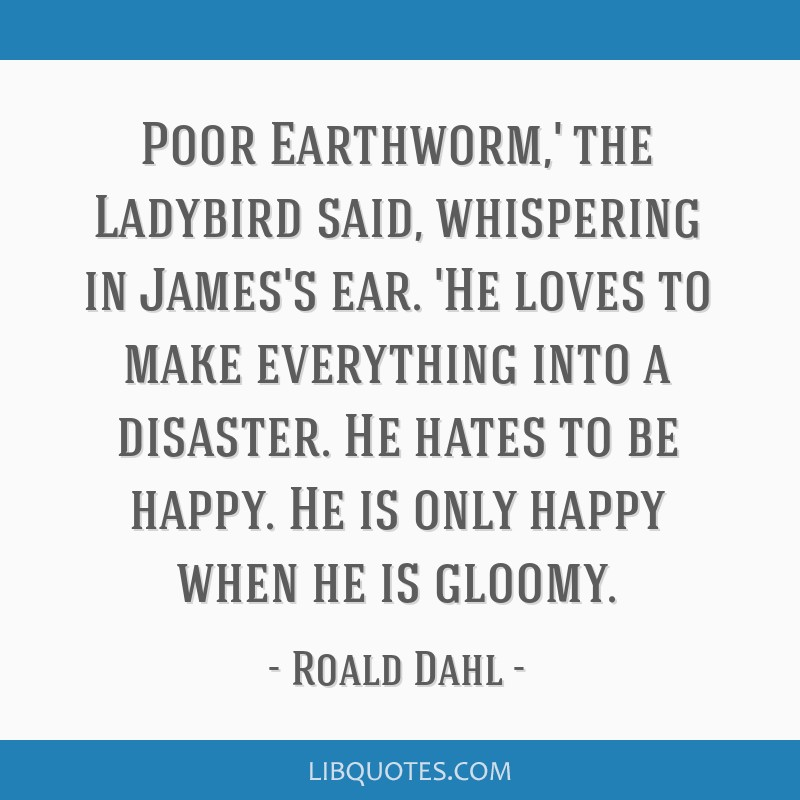 Poor Earthworm,' the Ladybird said, whispering in James's ear. 'He loves to make everything into a disaster. He hates to be happy. He is only happy...