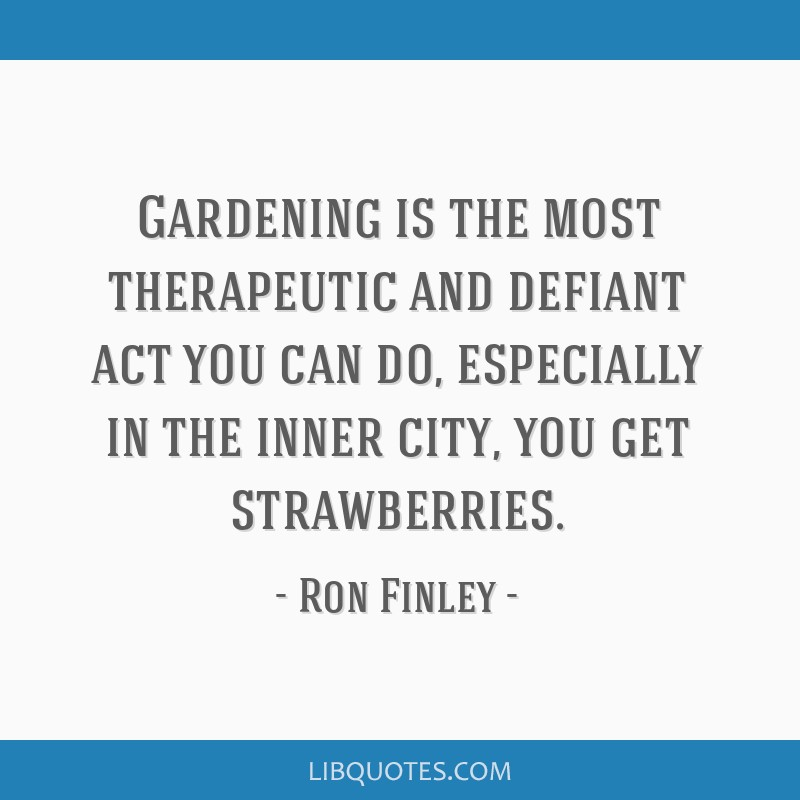 Gardening is the most therapeutic and defiant act you can do, especially in the inner city, you get strawberries.