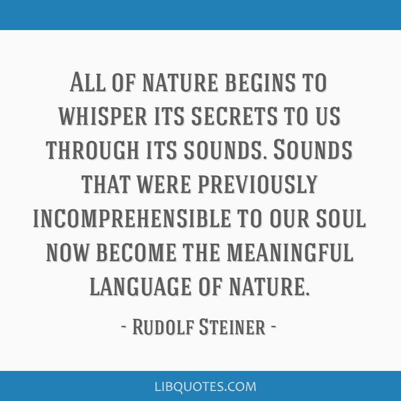 All of nature begins to whisper its secrets to us through its sounds. Sounds that were previously incomprehensible to our soul now become the...