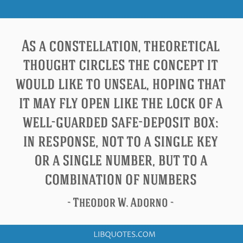 As a constellation, theoretical thought circles the concept it would like to unseal, hoping that it may fly open like the lock of a well-guarded...