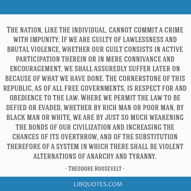 The nation, like the individual, cannot commit a crime with impunity. If we are guilty of lawlessness and brutal violence, whether our guilt consists ...