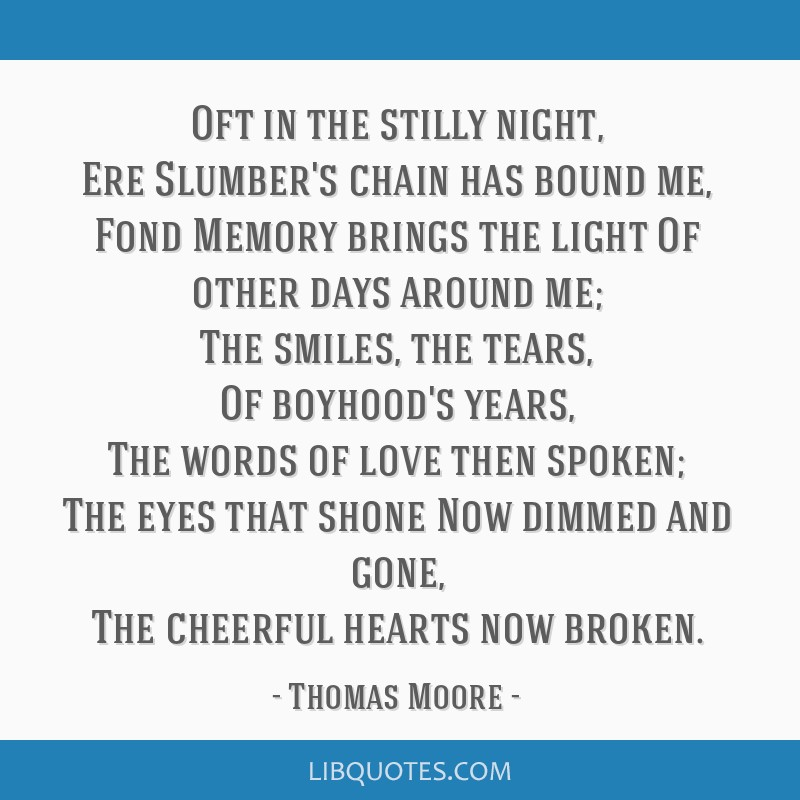 thomas moore oft in the stilly night