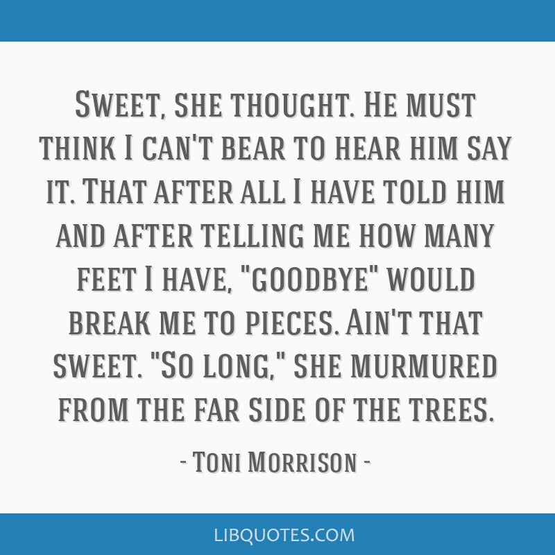 Sweet, she thought. He must think I can't bear to hear him say it. That after all I have told him and after telling me how many feet I have, goodbye...