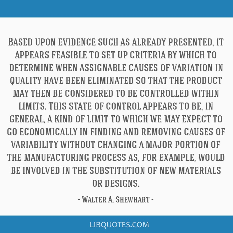 Based upon evidence such as already presented, it appears feasible to set up criteria by which to determine when assignable causes of variation in...