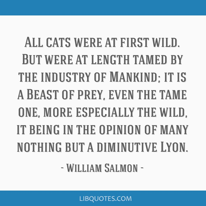 All Cats Were At First Wild But Were At Length Tamed By The