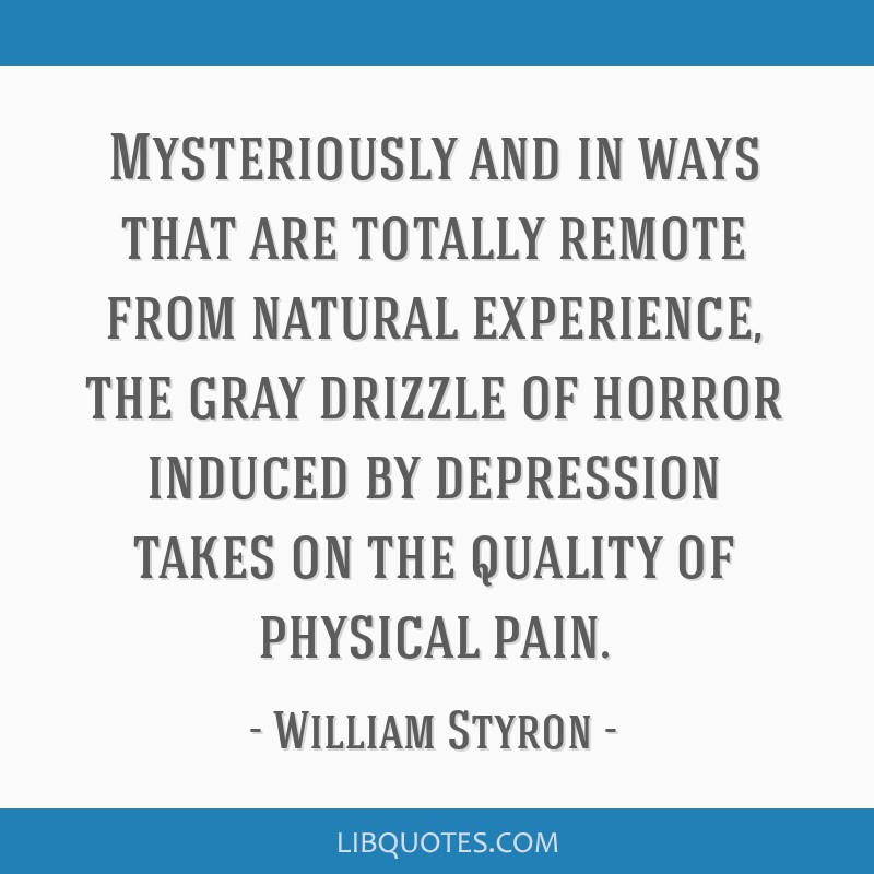 Mysteriously and in ways that are totally remote from natural experience, the gray drizzle of horror induced by depression takes on the quality of...