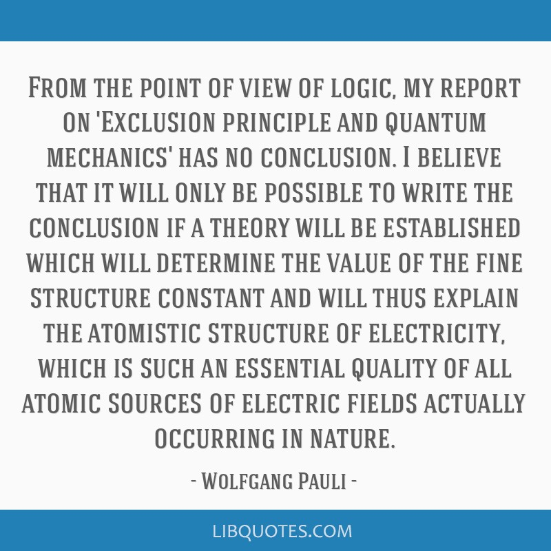 From the point of view of logic, my report on 'Exclusion principle and quantum mechanics' has no conclusion. I believe that it will only be possible...