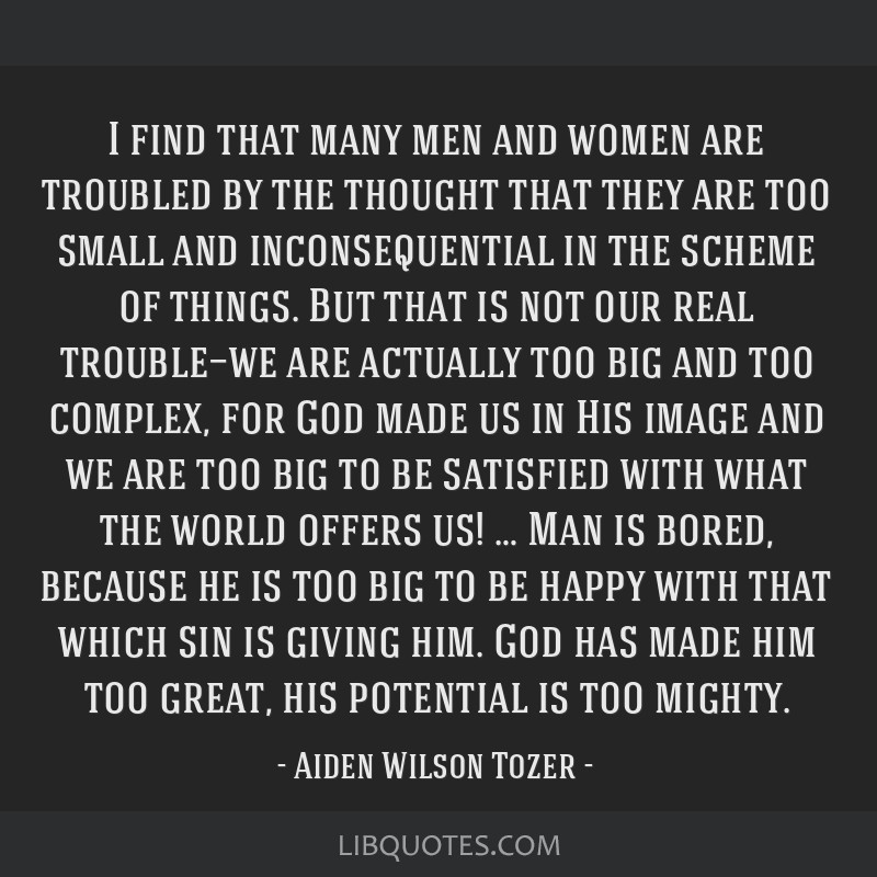 I find that many men and women are troubled by the thought that they are too small and inconsequential in the scheme of things. But that is not our...