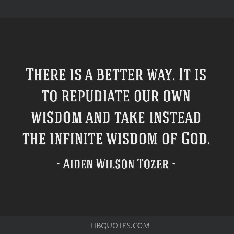 There is a better way. It is to repudiate our own wisdom and take instead the infinite wisdom of God.