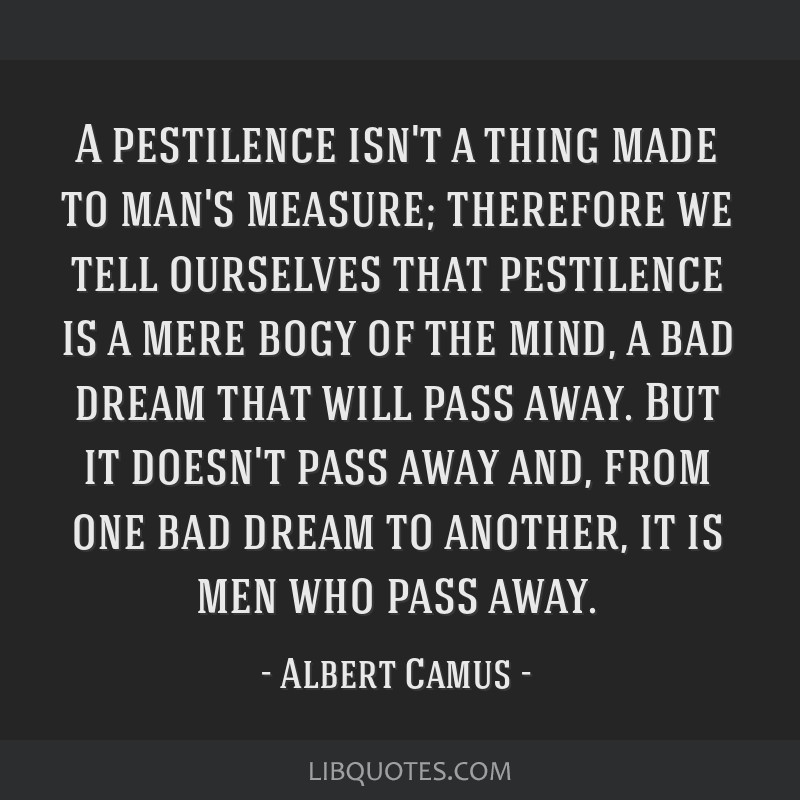 A pestilence isn't a thing made to man's measure; therefore we tell ourselves that pestilence is a mere bogy of the mind, a bad dream that will pass...