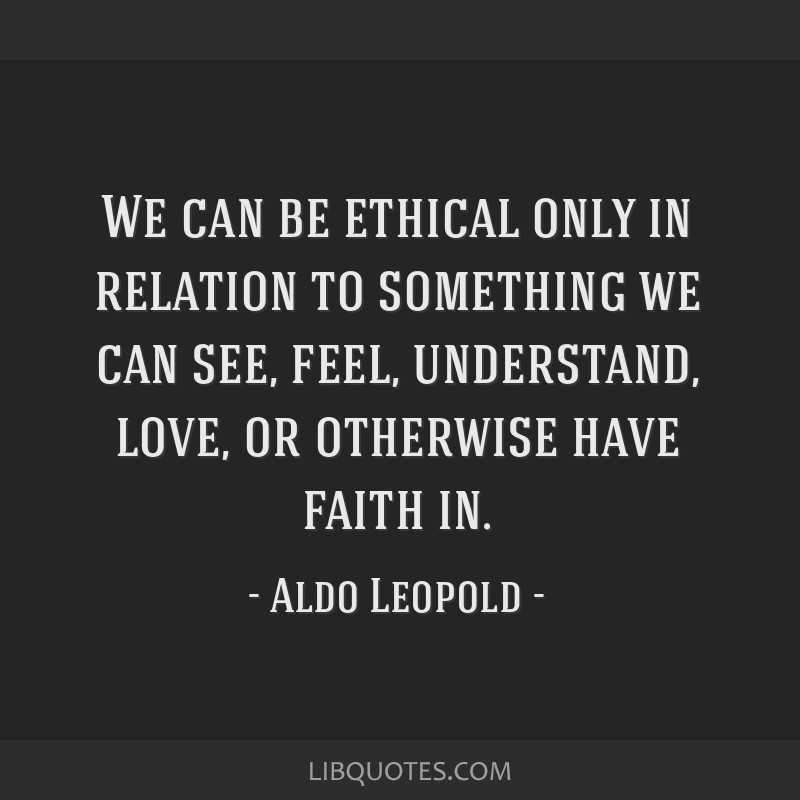 We can be ethical only in relation to something we can see, feel, understand, love, or otherwise have faith in.