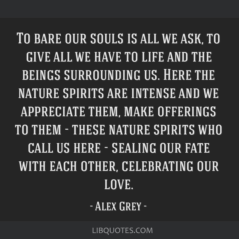 To bare our souls is all we ask, to give all we have to life and the beings surrounding us. Here the nature spirits are intense and we appreciate...