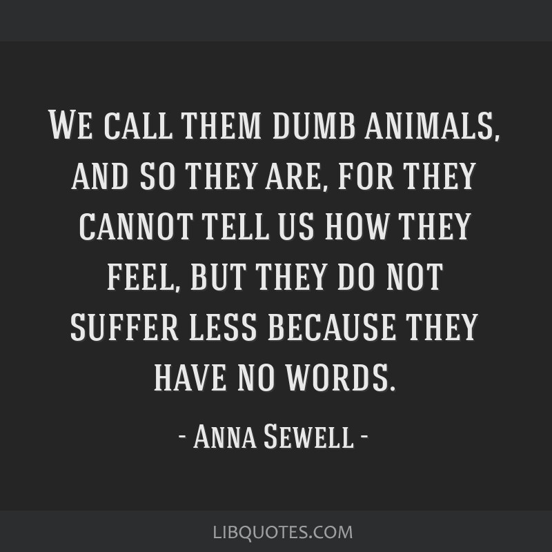We call them dumb animals, and so they are, for they cannot tell us how they feel, but they do not suffer less because they have no words.