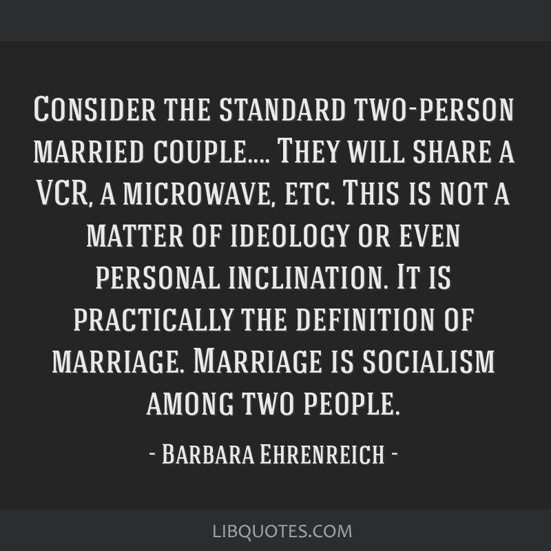 Consider the standard two-person married couple.... They will share a VCR, a microwave, etc. This is not a matter of ideology or even personal...