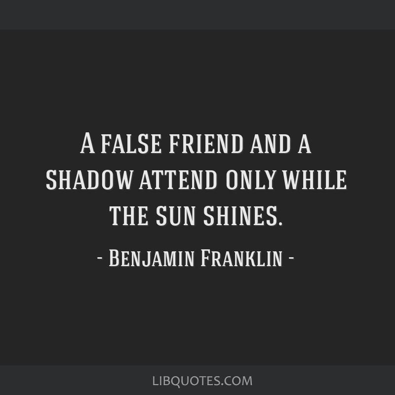 A false friend and a shadow attend only while the sun shines.