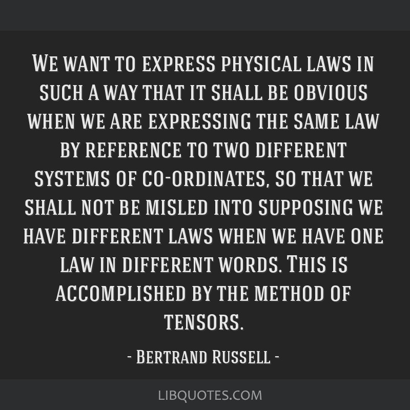 We want to express physical laws in such a way that it shall be obvious when we are expressing the same law by reference to two different systems of...
