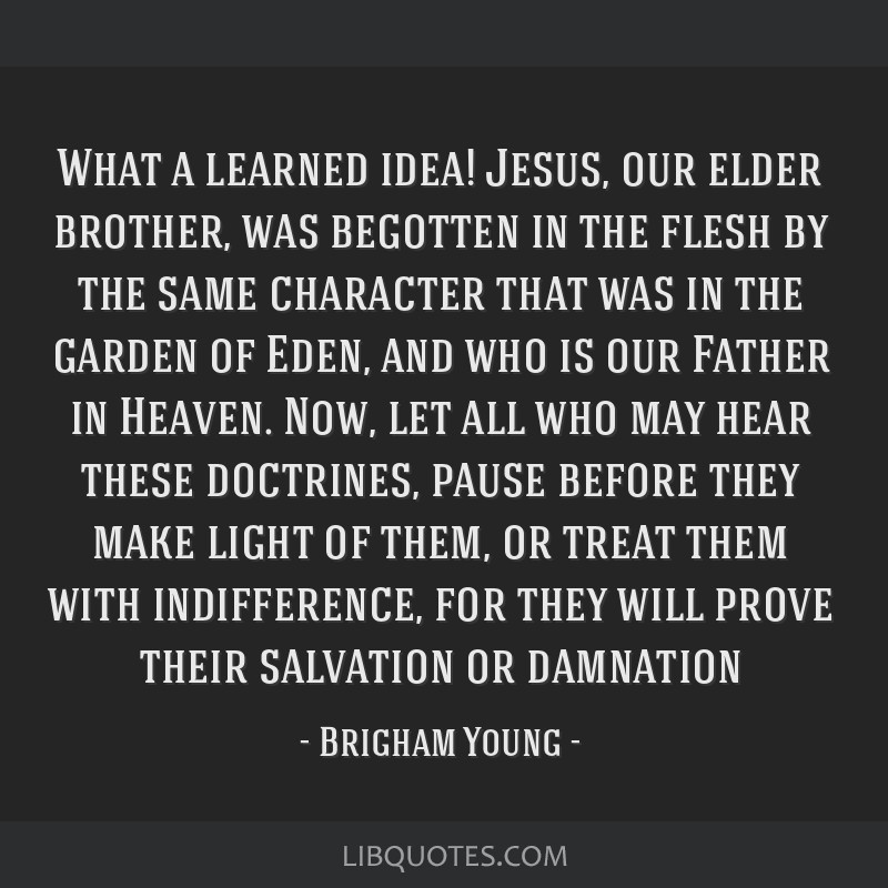 What a learned idea! Jesus, our elder brother, was begotten in the flesh by the same character that was in the garden of Eden, and who is our Father...