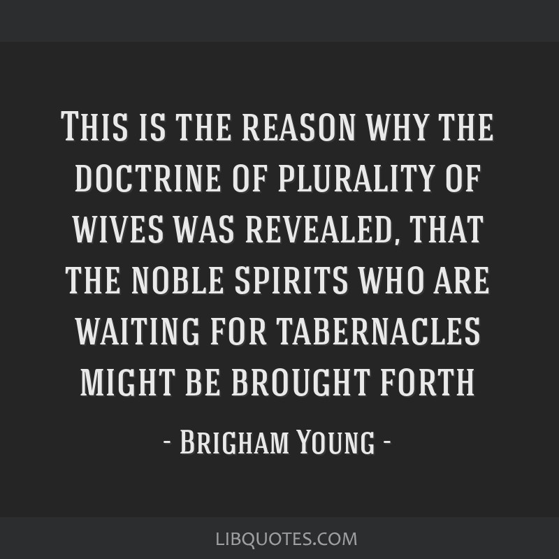 This is the reason why the doctrine of plurality of wives was revealed, that the noble spirits who are waiting for tabernacles might be brought forth