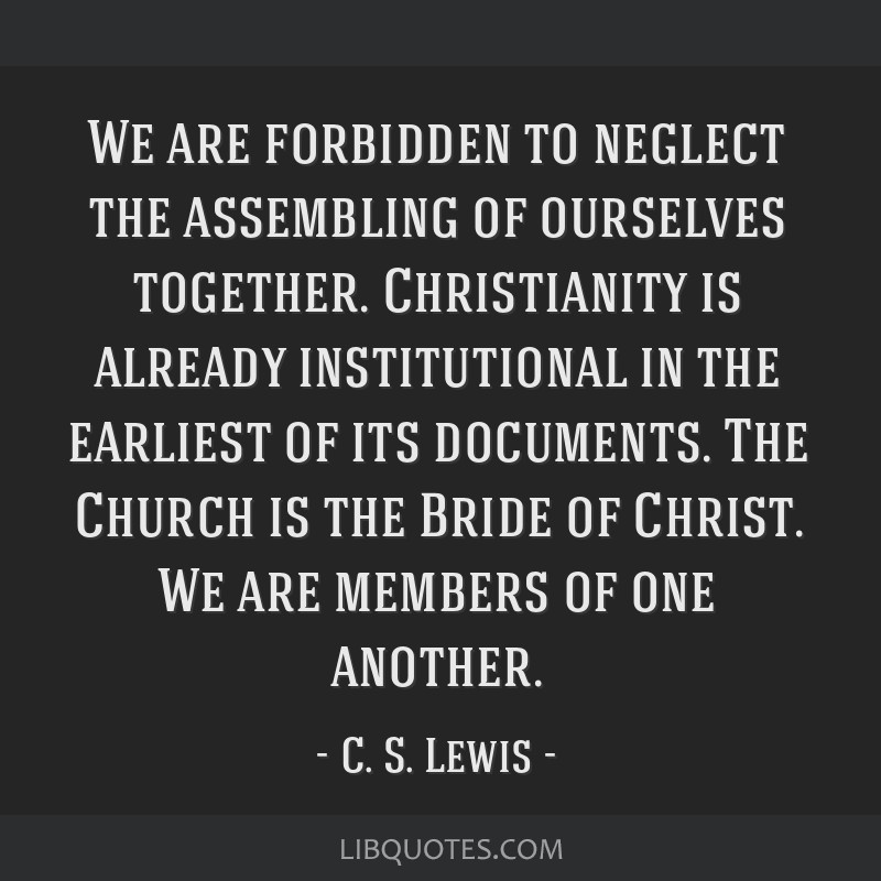 We are forbidden to neglect the assembling of ourselves together. Christianity is already institutional in the earliest of its documents. The Church...