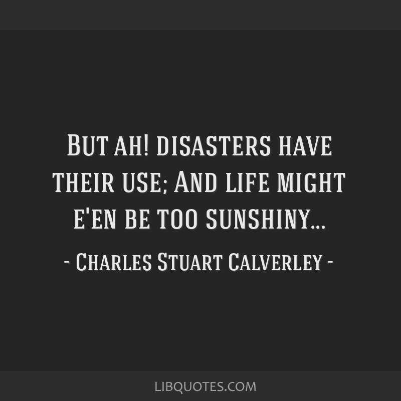 But ah! disasters have their use; And life might e'en be too sunshiny...