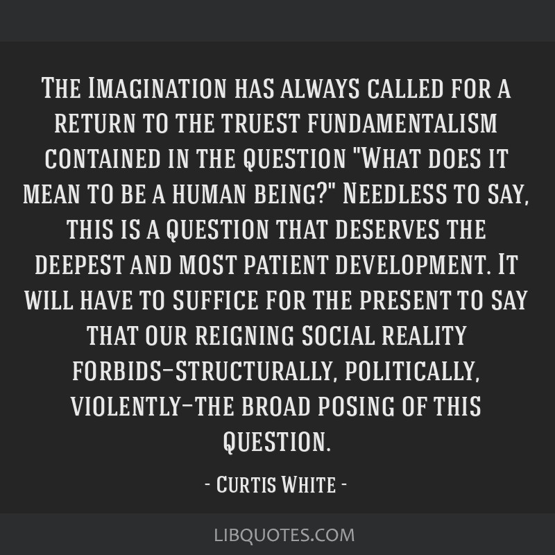 The Imagination has always called for a return to the truest fundamentalism contained in the question What does it mean to be a human being? Needless ...