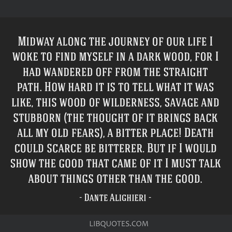 Midway along the journey of our life I woke to find myself in a dark wood, for I had wandered off from the straight path. How hard it is to tell what ...