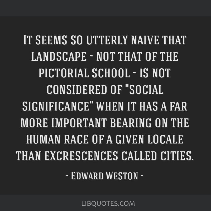 It seems so utterly naive that landscape - not that of the pictorial school - is not considered of social significance when it has a far more...