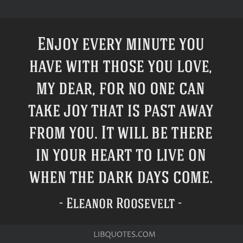 Enjoy every minute you have with those you love, my dear, for no one can take joy that is past away from you. It will be there in your heart to live...