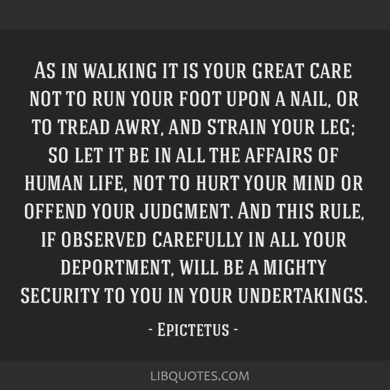As in walking it is your great care not to run your foot upon a nail, or to tread awry, and strain your leg; so let it be in all the affairs of human ...