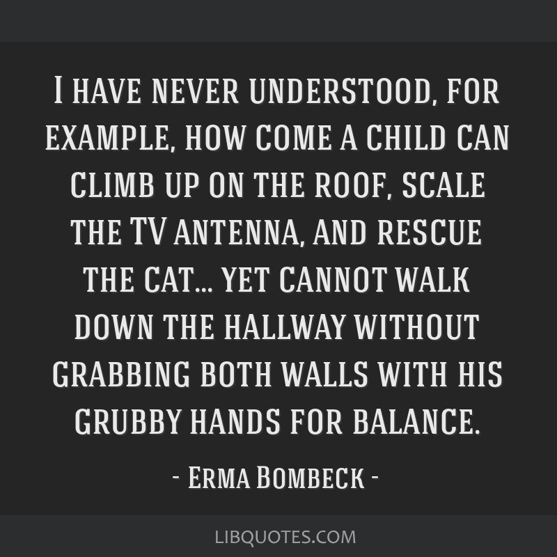 I have never understood, for example, how come a child can climb up on the roof, scale the TV antenna, and rescue the cat... yet cannot walk down the ...