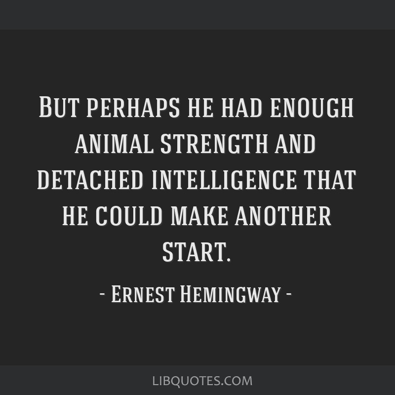 But perhaps he had enough animal strength and detached intelligence that he could make another start.