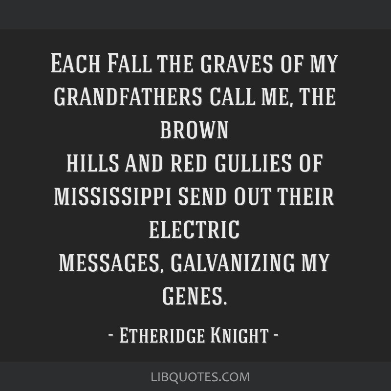 Each Fall the graves of my grandfathers call me, the brown hills and red gullies of mississippi send out their electric messages, galvanizing my...