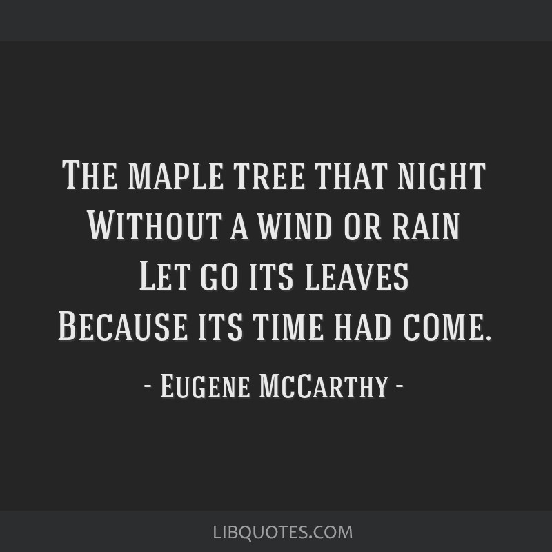 The maple tree that night Without a wind or rain Let go its leaves Because its time had come.