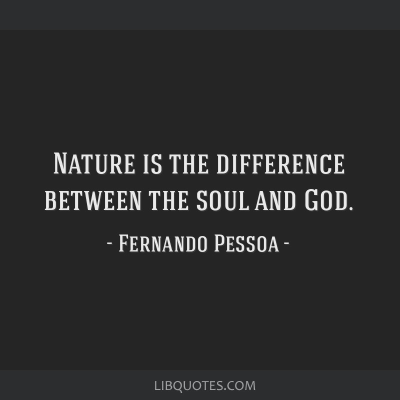 Nature is the difference between the soul and God.