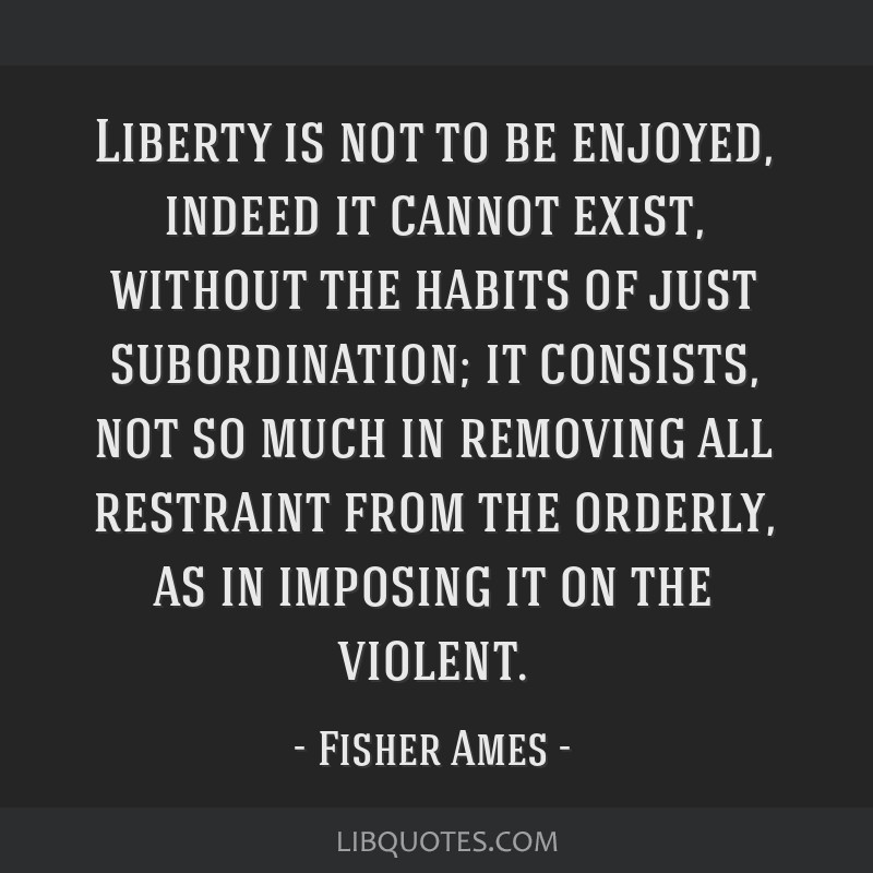 Liberty is not to be enjoyed, indeed it cannot exist, without the habits of just subordination; it consists, not so much in removing all restraint...