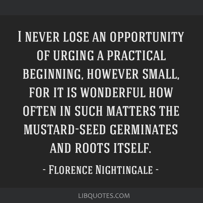 I never lose an opportunity of urging a practical beginning, however small, for it is wonderful how often in such matters the mustard-seed germinates ...