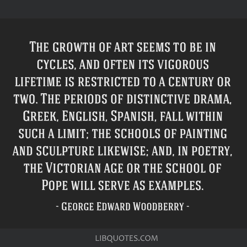 The growth of art seems to be in cycles, and often its vigorous lifetime is restricted to a century or two. The periods of distinctive drama, Greek,...