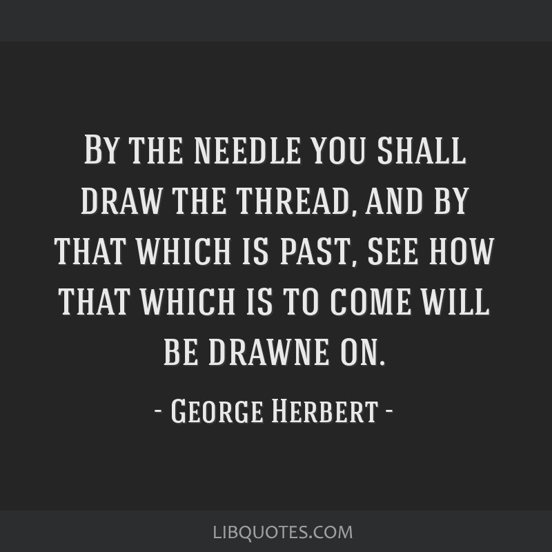By the needle you shall draw the thread, and by that which is past, see how that which is to come will be drawne on.